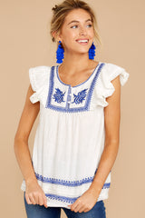6 There You Go Again White And Blue Embroidered Top at reddressboutique.com