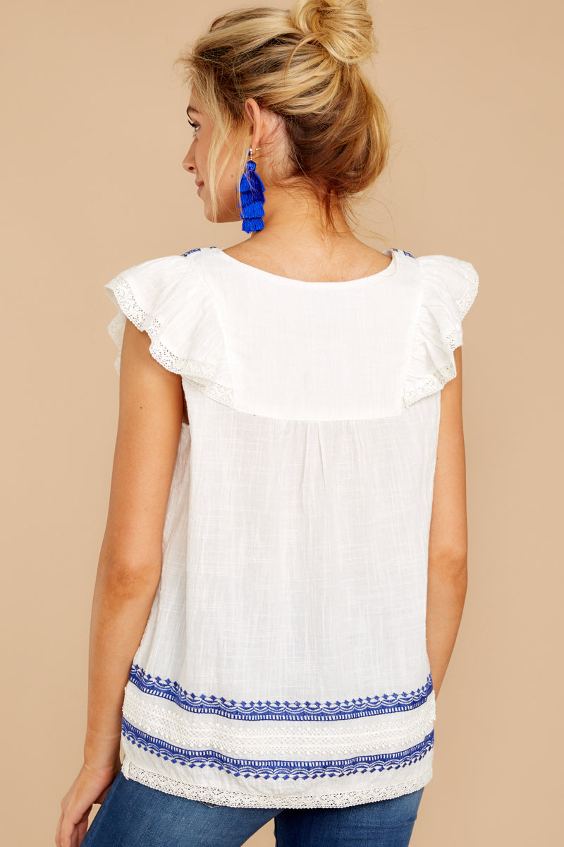 7 There You Go Again White And Blue Embroidered Top at reddressboutique.com