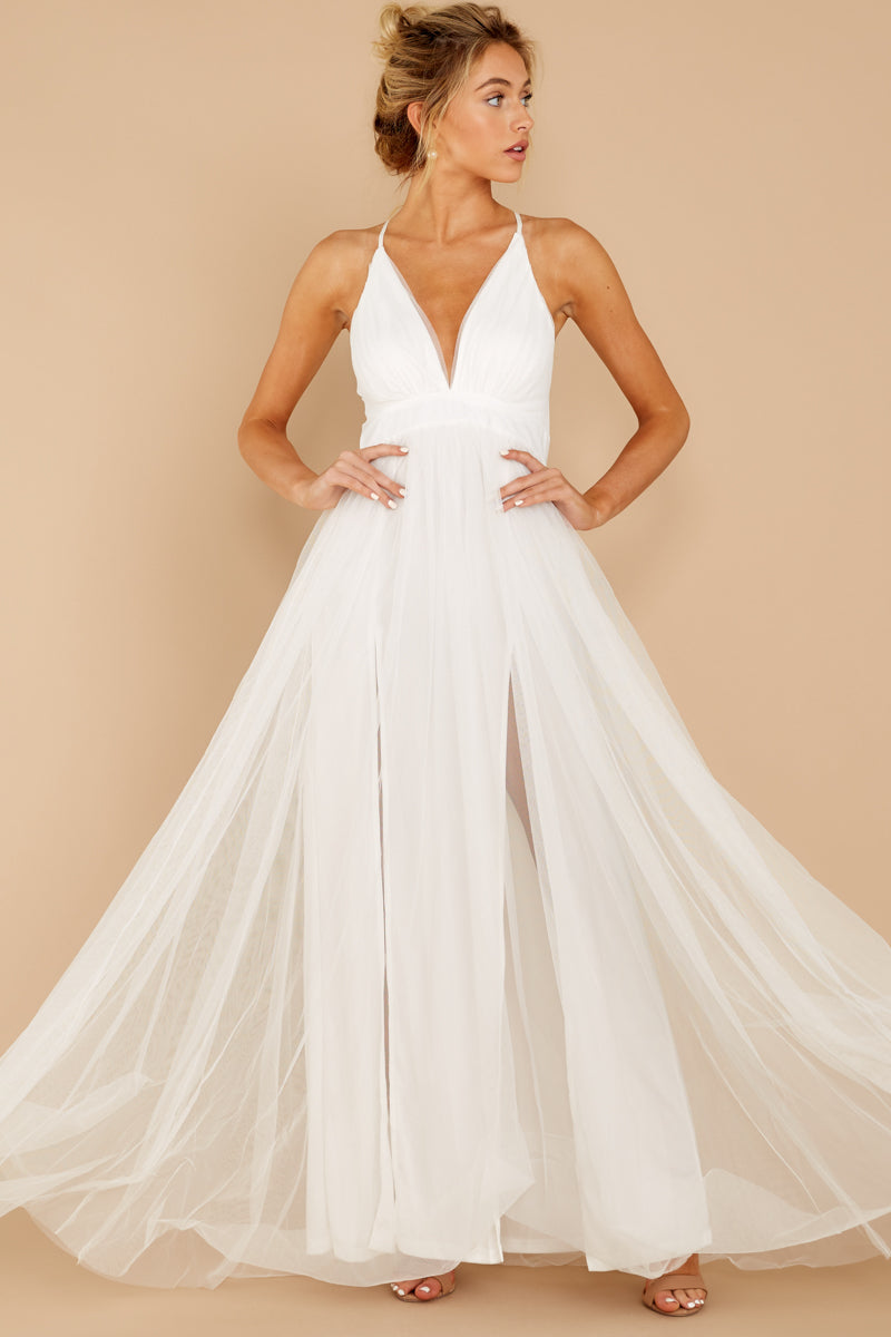Gorgeous White Tulle Gown Formal Maxi Dress Red Dress,Nice Summer Dresses For Weddings