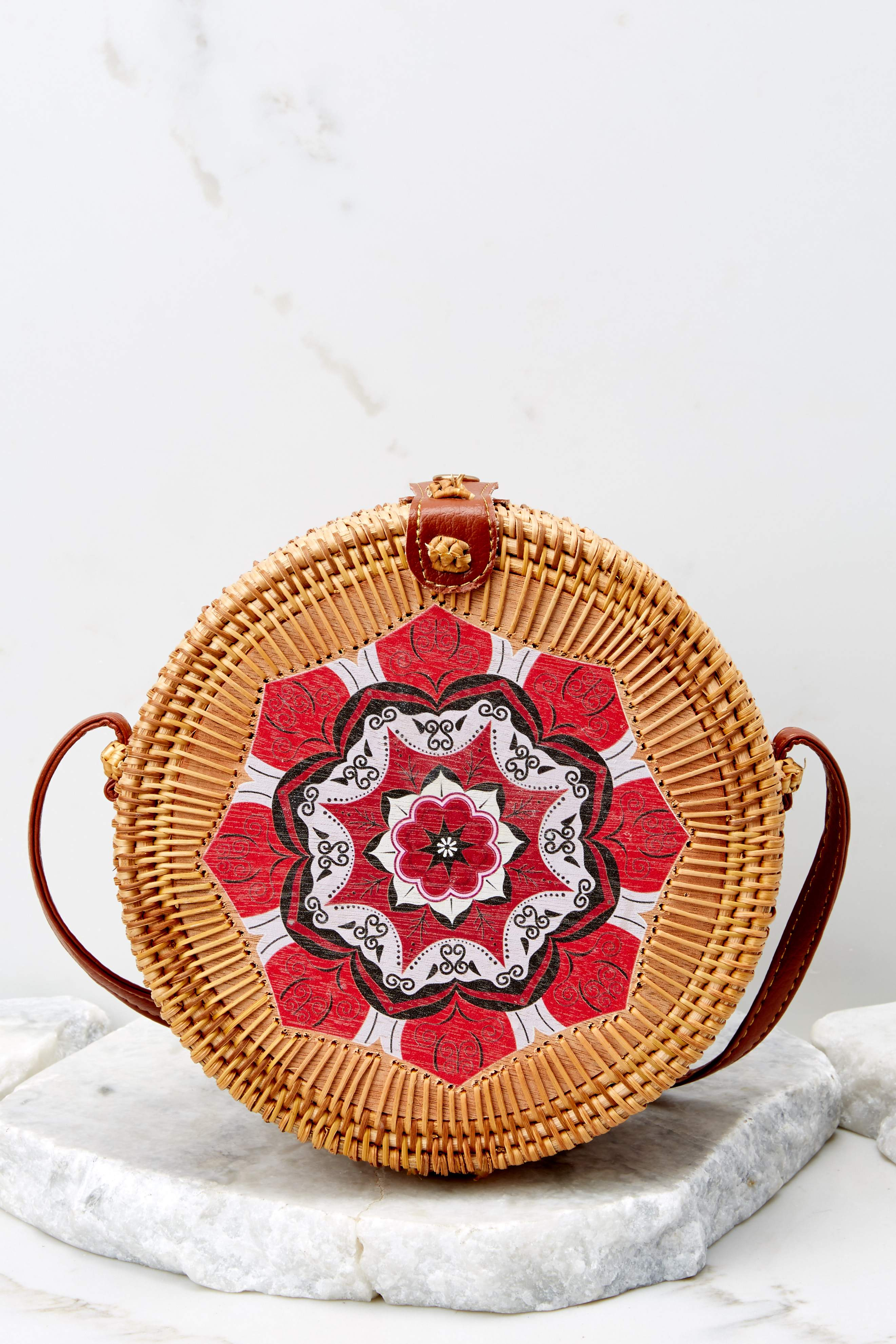 3 A Little Charmed Red Printed Round Bag at reddressboutique.com