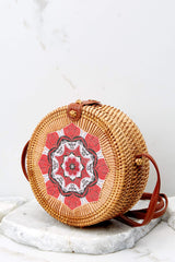 4 A Little Charmed Red Printed Round Bag at reddressboutique.com