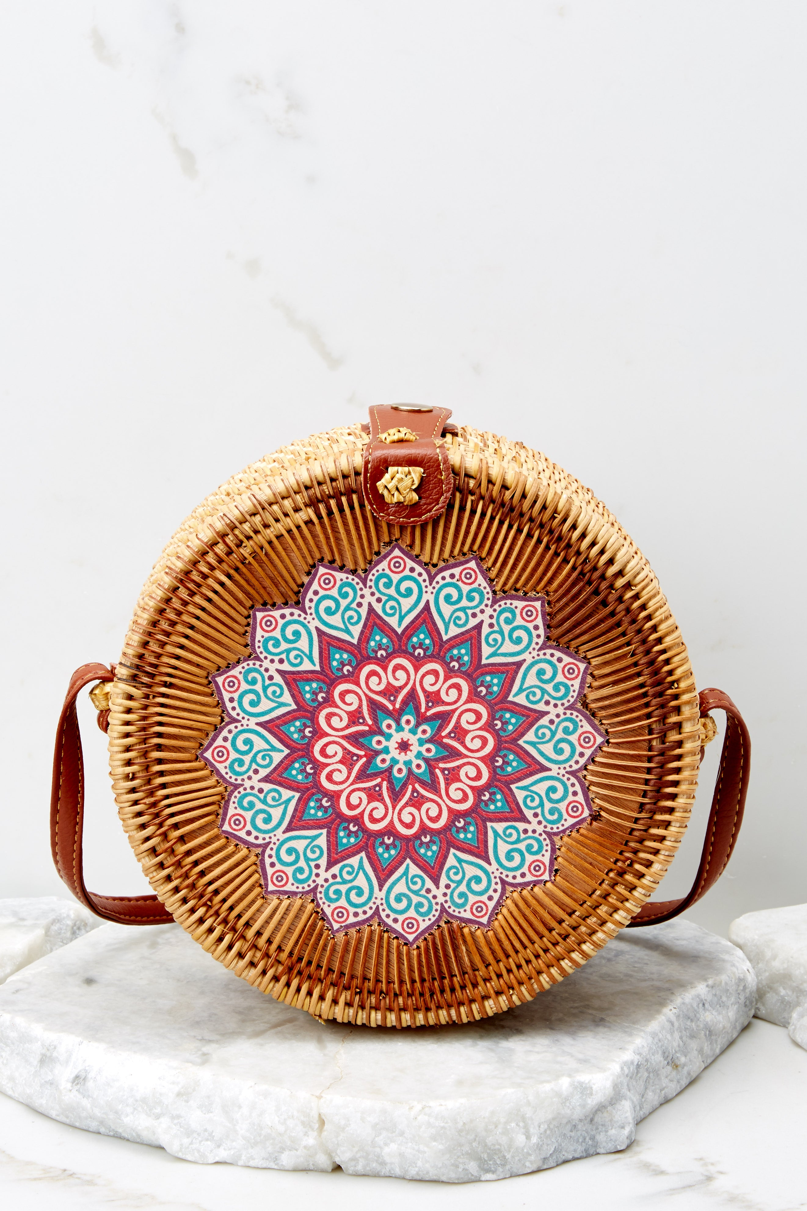 3 A Little Charmed Printed Tan Round Bag at reddress.com