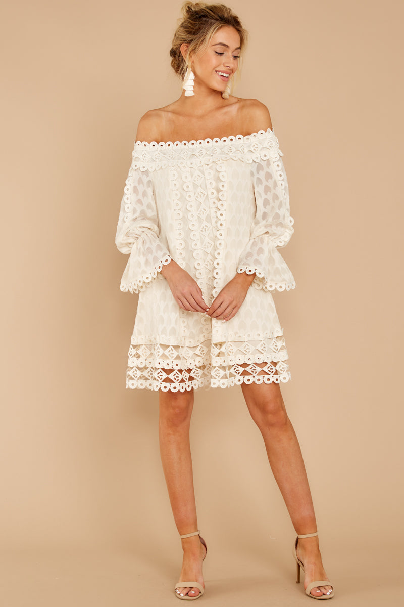 6 Tea With You Ivory Lace Off The Shoulder Dress at reddressboutique.com