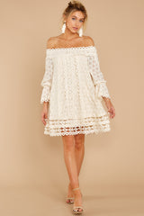 7 Tea With You Ivory Lace Off The Shoulder Dress at reddressboutique.com