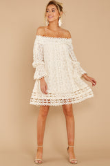 8 Tea With You Ivory Lace Off The Shoulder Dress at reddressboutique.com