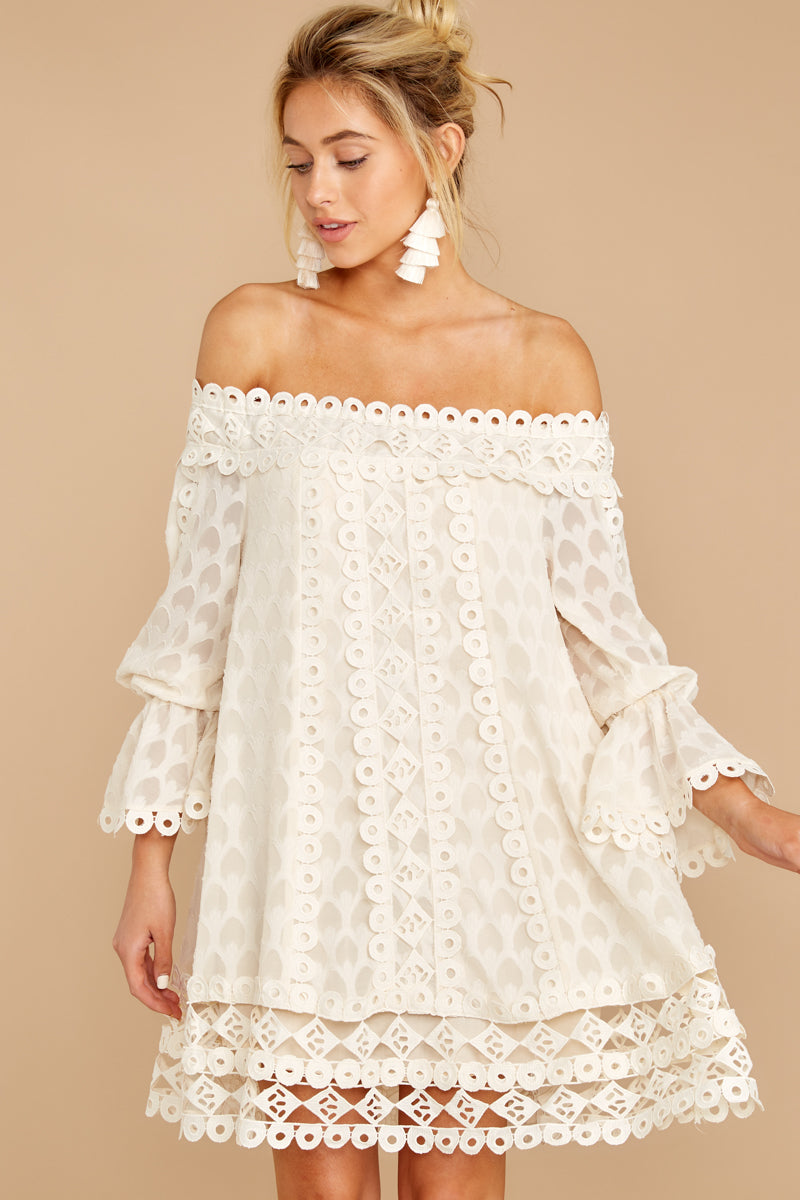 9 Tea With You Ivory Lace Off The Shoulder Dress at reddressboutique.com