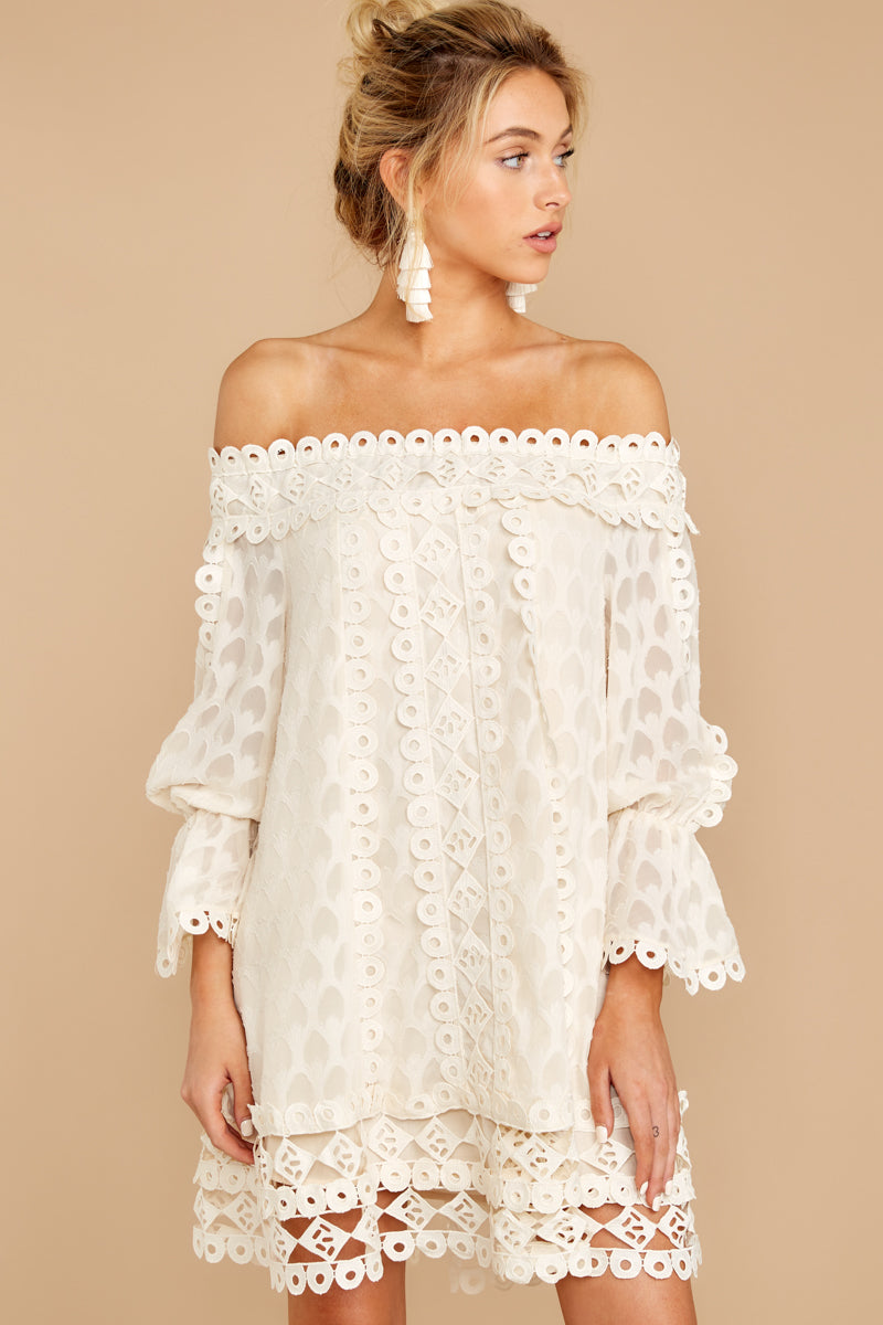 10 Tea With You Ivory Lace Off The Shoulder Dress at reddressboutique.com