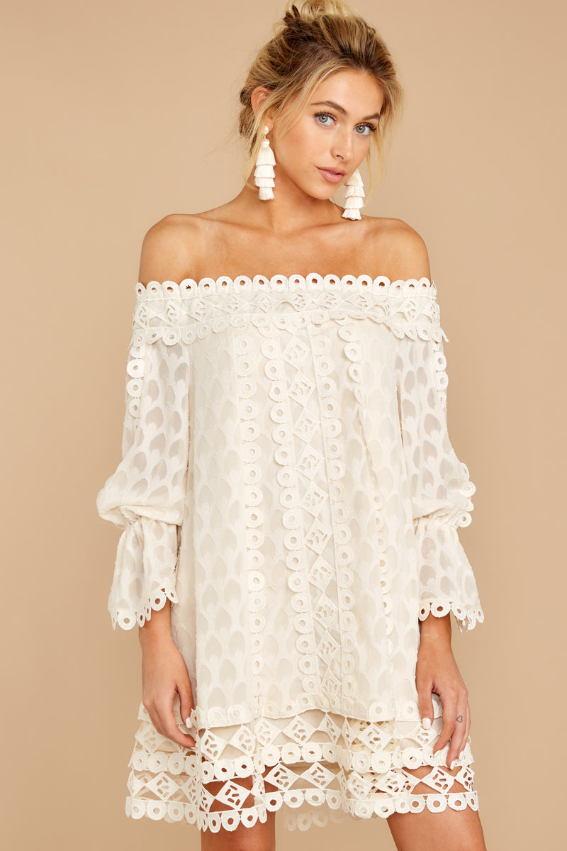 11 Tea With You Ivory Lace Off The Shoulder Dress at reddressboutique.com
