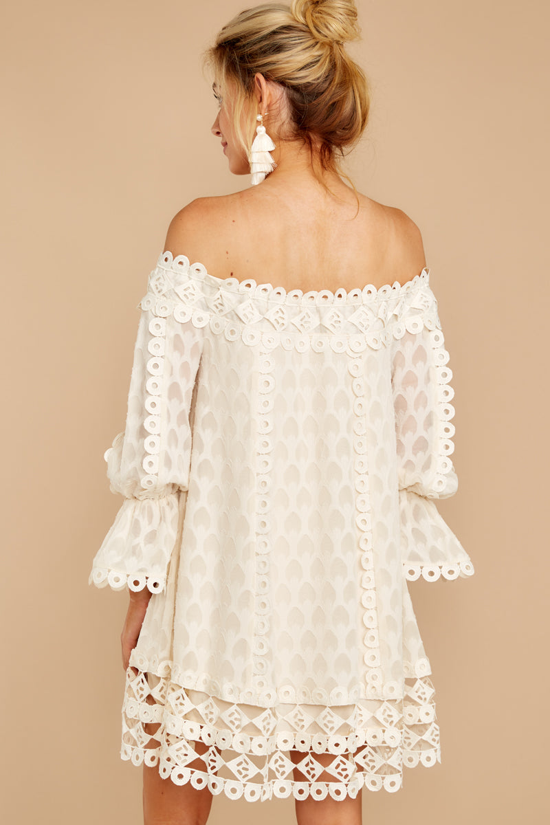 12 Tea With You Ivory Lace Off The Shoulder Dress at reddressboutique.com