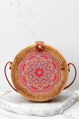 3 A Little Charmed Pink Printed Tan Round Bag at reddress.com