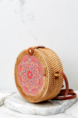 4 A Little Charmed Pink Printed Tan Round Bag at reddress.com