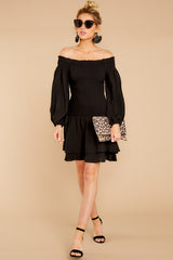 Keep Focused Black Off The Shoulder Dress