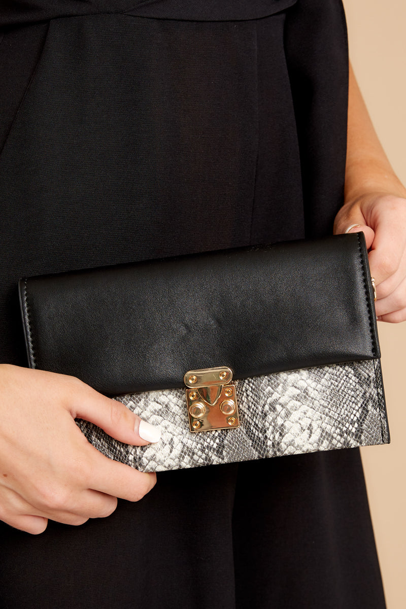 Waiting On Promises Black And Snake Skin Clutch