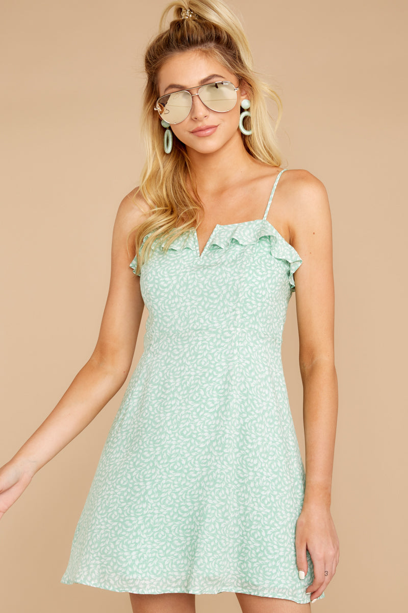 4 When She Smiles Mint Print Dress at reddressboutique.com