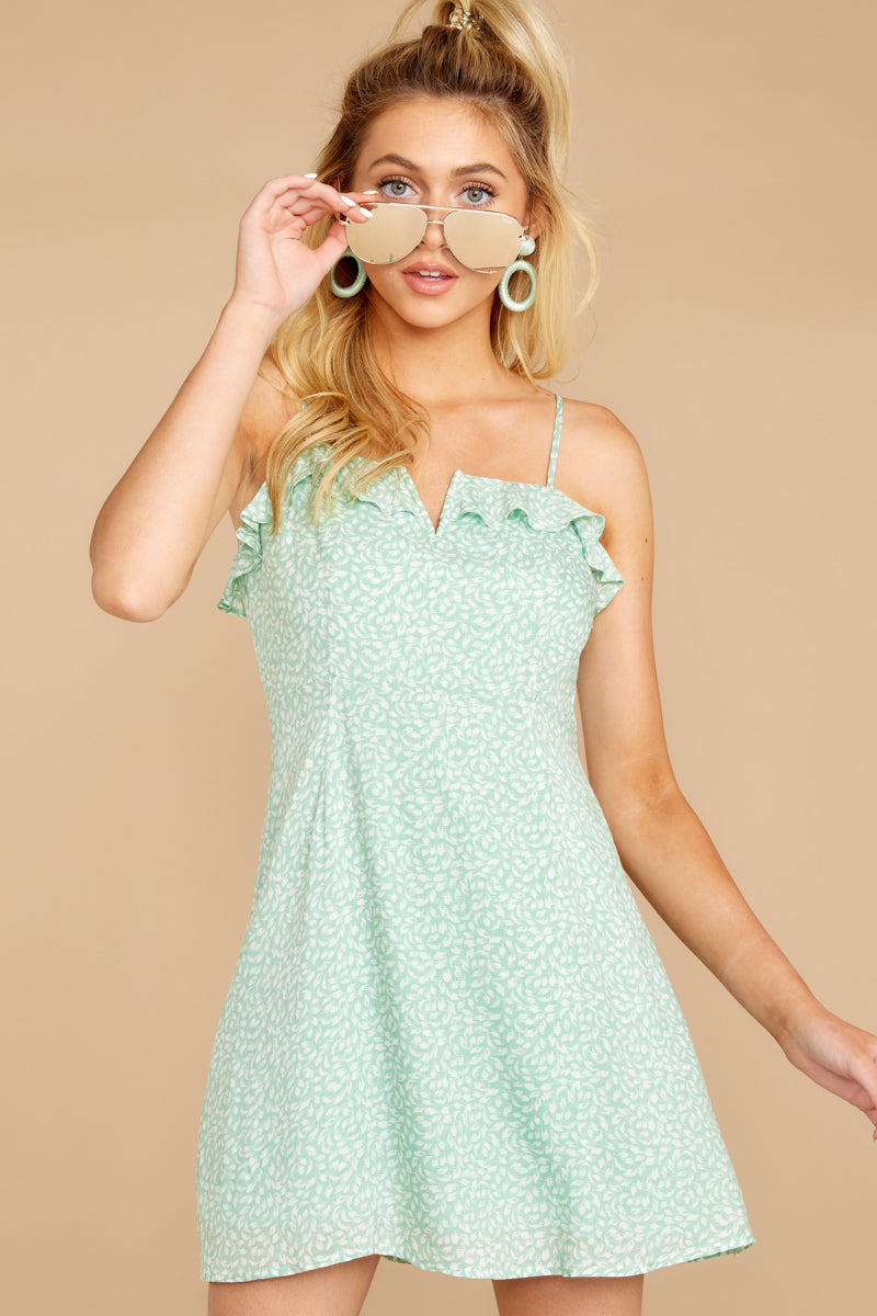 6 When She Smiles Mint Print Dress at reddressboutique.com