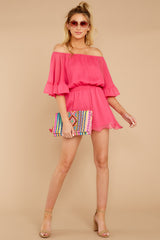 3 A Little Diddy Neon Pink Romper at reddressboutique.com