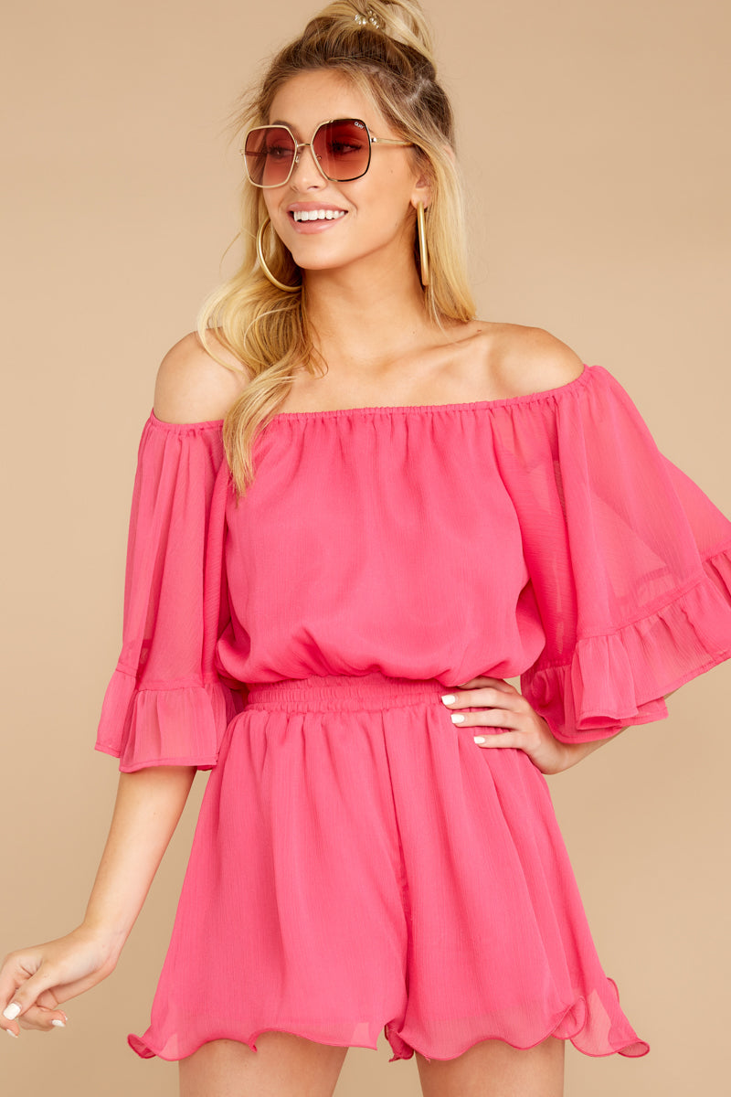6 A Little Diddy Neon Pink Romper at reddressboutique.com