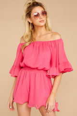 5 A Little Diddy Neon Pink Romper at reddressboutique.com