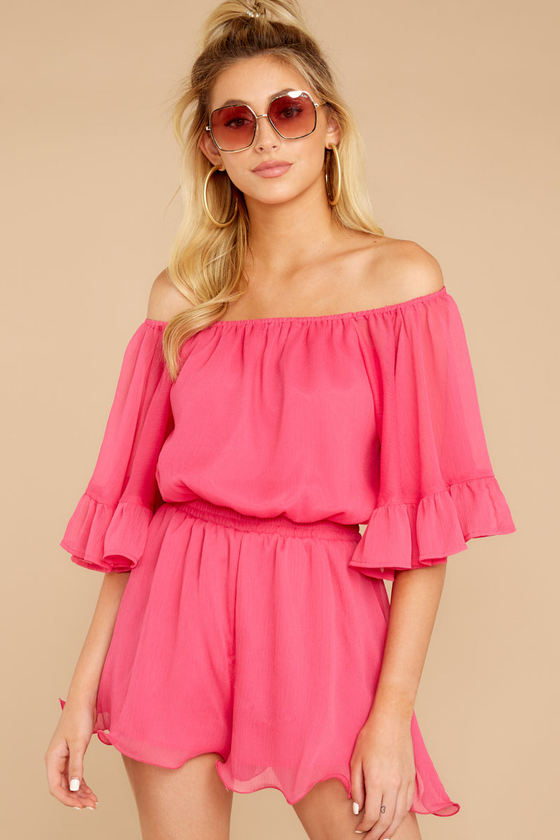 4 A Little Diddy Neon Pink Romper at reddressboutique.com