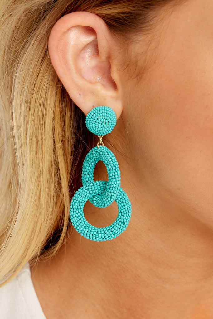1 The Last Moment Turquoise Tassel Earrings at reddressboutique.com