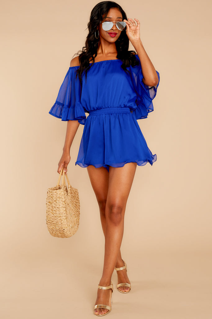 1 The Blaire Sleek Jersey Romper In Black Iris at reddressboutique.com