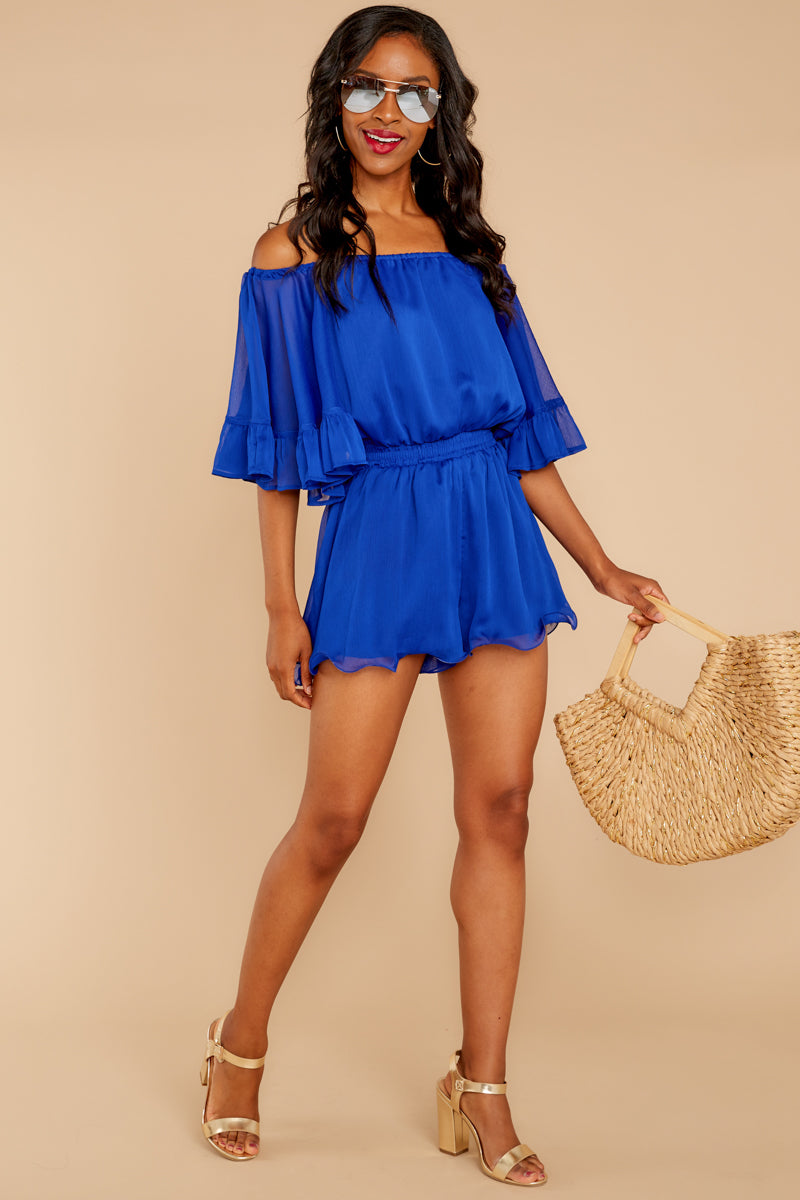 A Little Diddy Royal Blue Romper