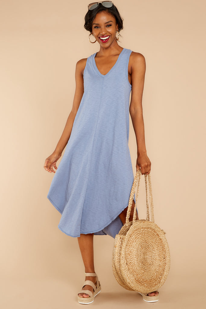2 Sweet Muse Light Blue Plaid Midi Dress at reddressboutique.com