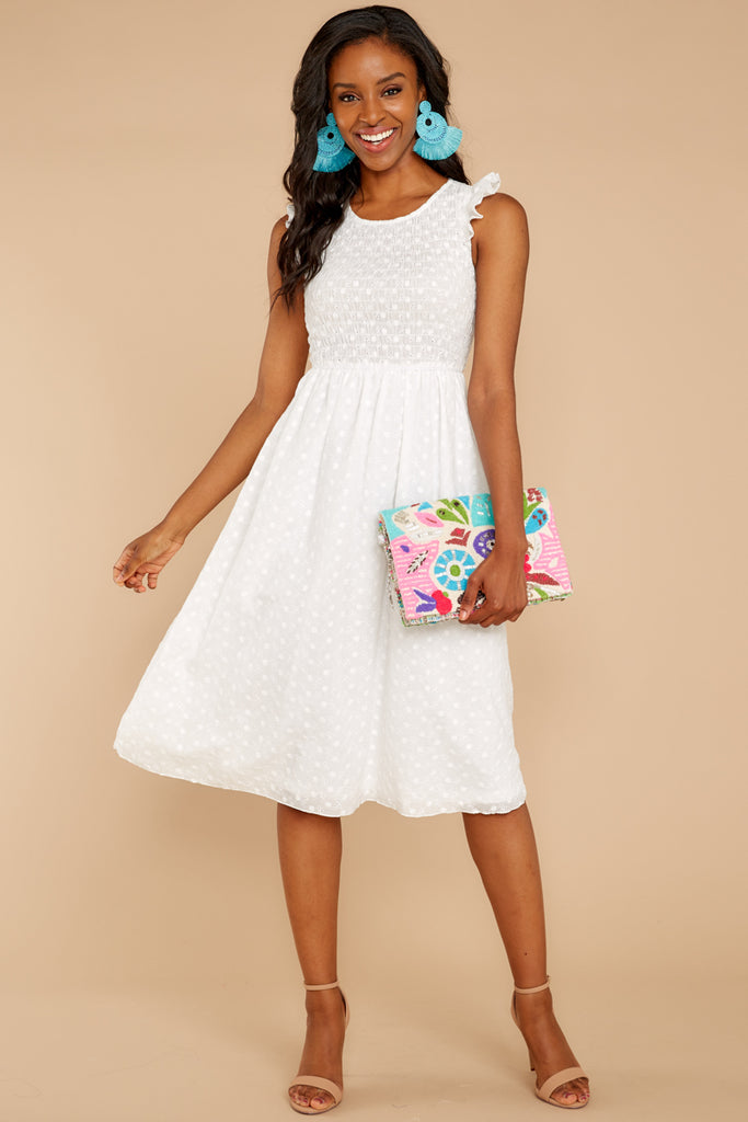 1 Who Goes There White Eyelet Midi Dress at reddressboutique.com