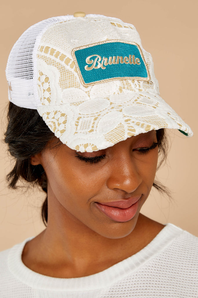 1 80's Babe Sea Green Distressed Hat at reddressboutique.com
