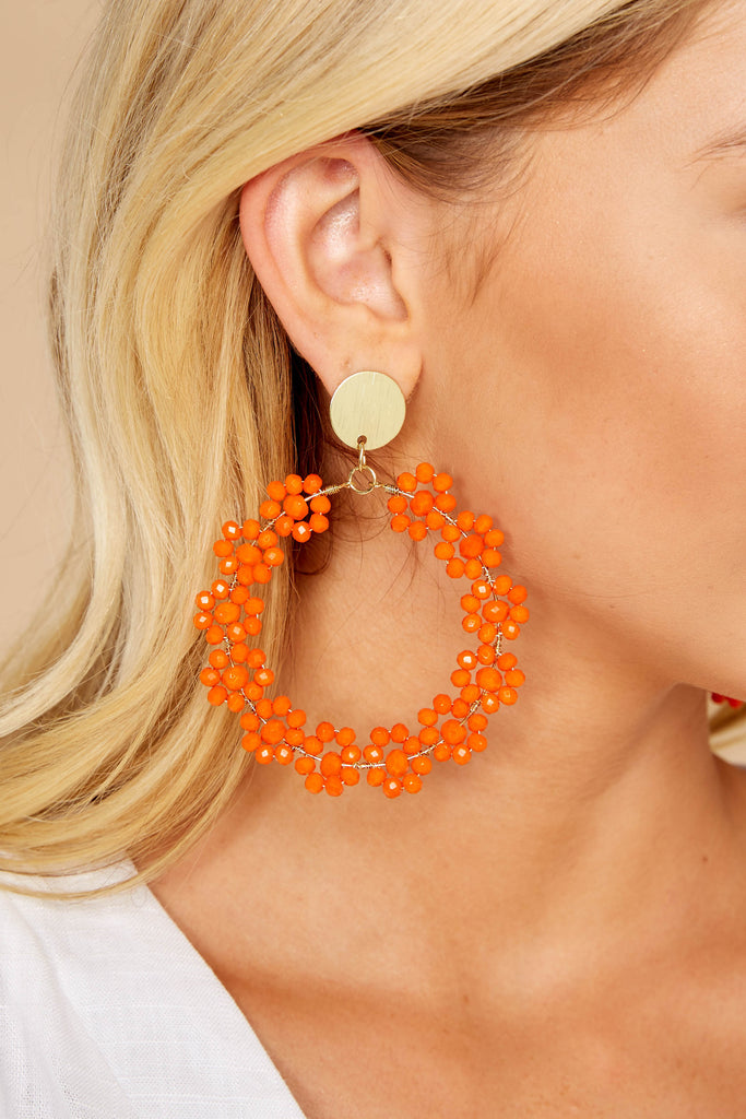 4 Plans For The Future Tomato Orange Earrings at reddressboutique.com