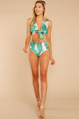 3 Surfin' Around Green And Pink Tropical Print Bikini Bottoms at reddressboutique.com