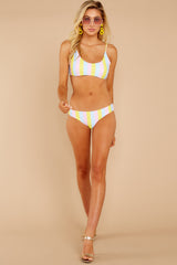 2 Everyday In The Summer Yellow Multi Stripe Bikini Top at reddressboutique.com