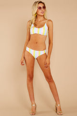 3 Everyday In The Summer Yellow Multi Stripe Bikini Top at reddressboutique.com