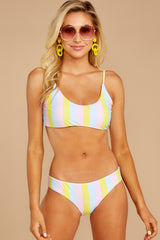 4 Everyday In The Summer Yellow Multi Stripe Bikini Top at reddressboutique.com
