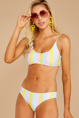5 Everyday In The Summer Yellow Multi Stripe Bikini Top at reddressboutique.com