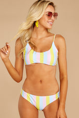 6 Everyday In The Summer Yellow Multi Stripe Bikini Top at reddressboutique.com