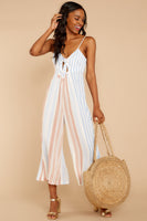 V-neck Striped Print Shirred Empire Waistline Rayon Jumpsuit