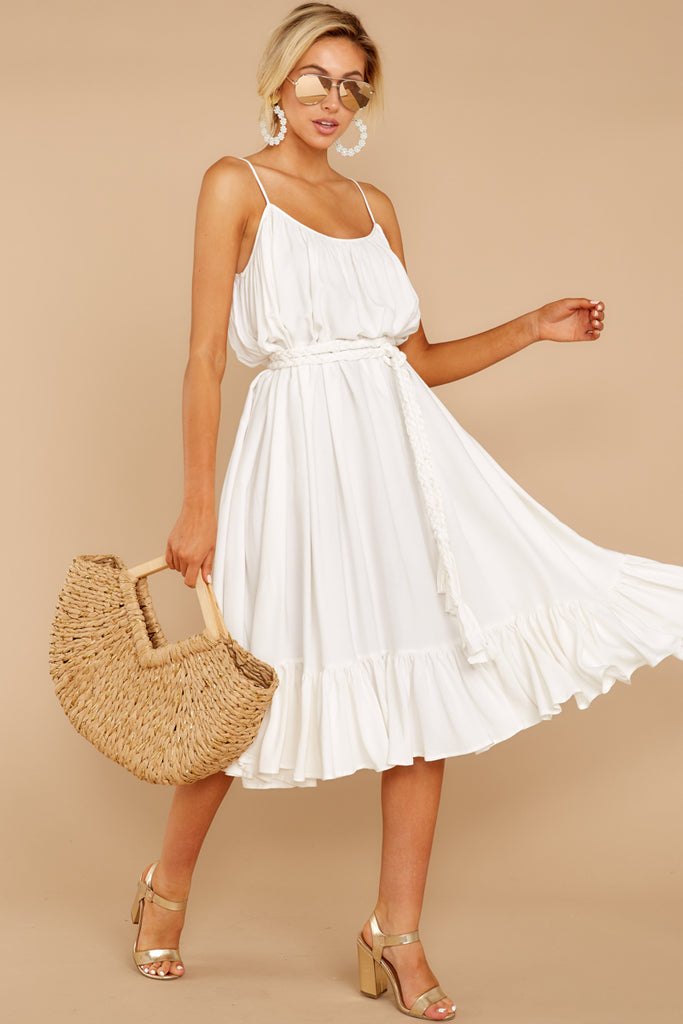 1 Silvery Seas White Eyelet Midi Wrap Dress at reddressboutique.com
