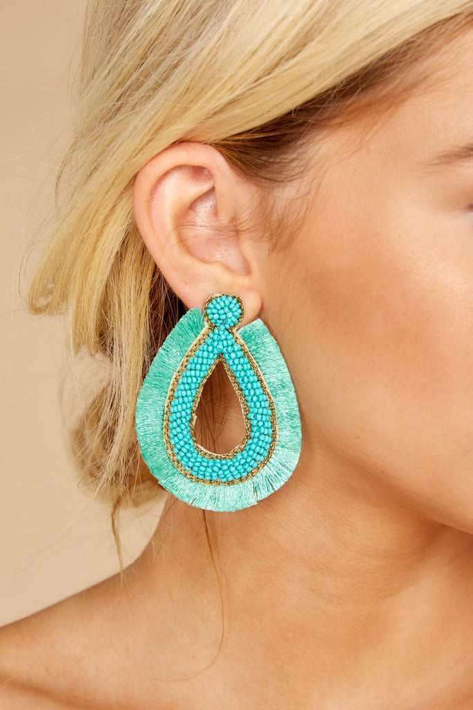 1 A Different Time Blue Multi Beaded Hoop Earrings at reddressboutique.com