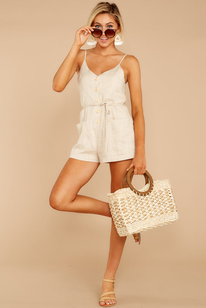 1 Little Thing Called Love Beige Embroidered Romper at reddress.com