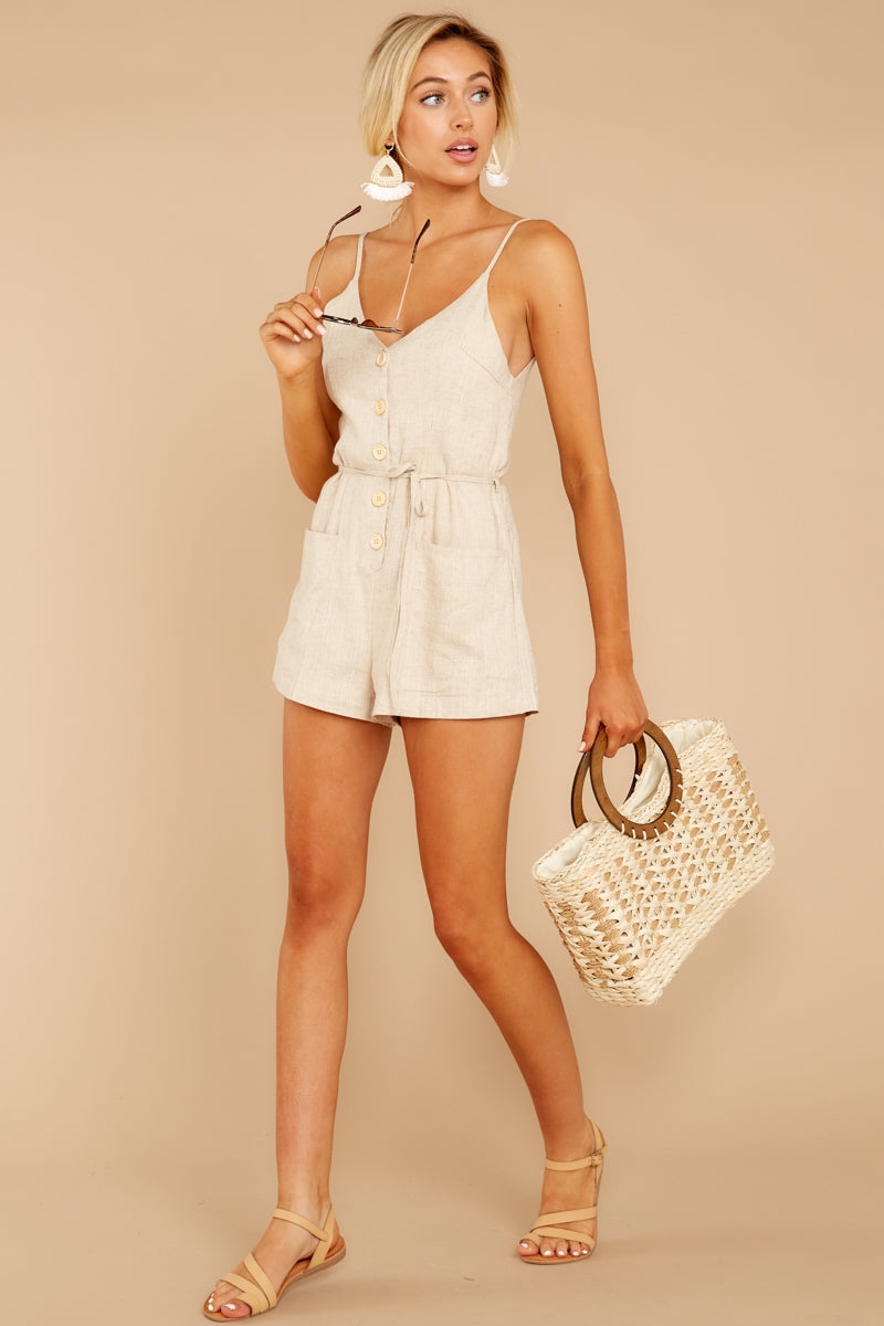 2 Legendary Allure Beige Romper at reddressboutique.com
