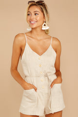 3 Legendary Allure Beige Romper at reddressboutique.com