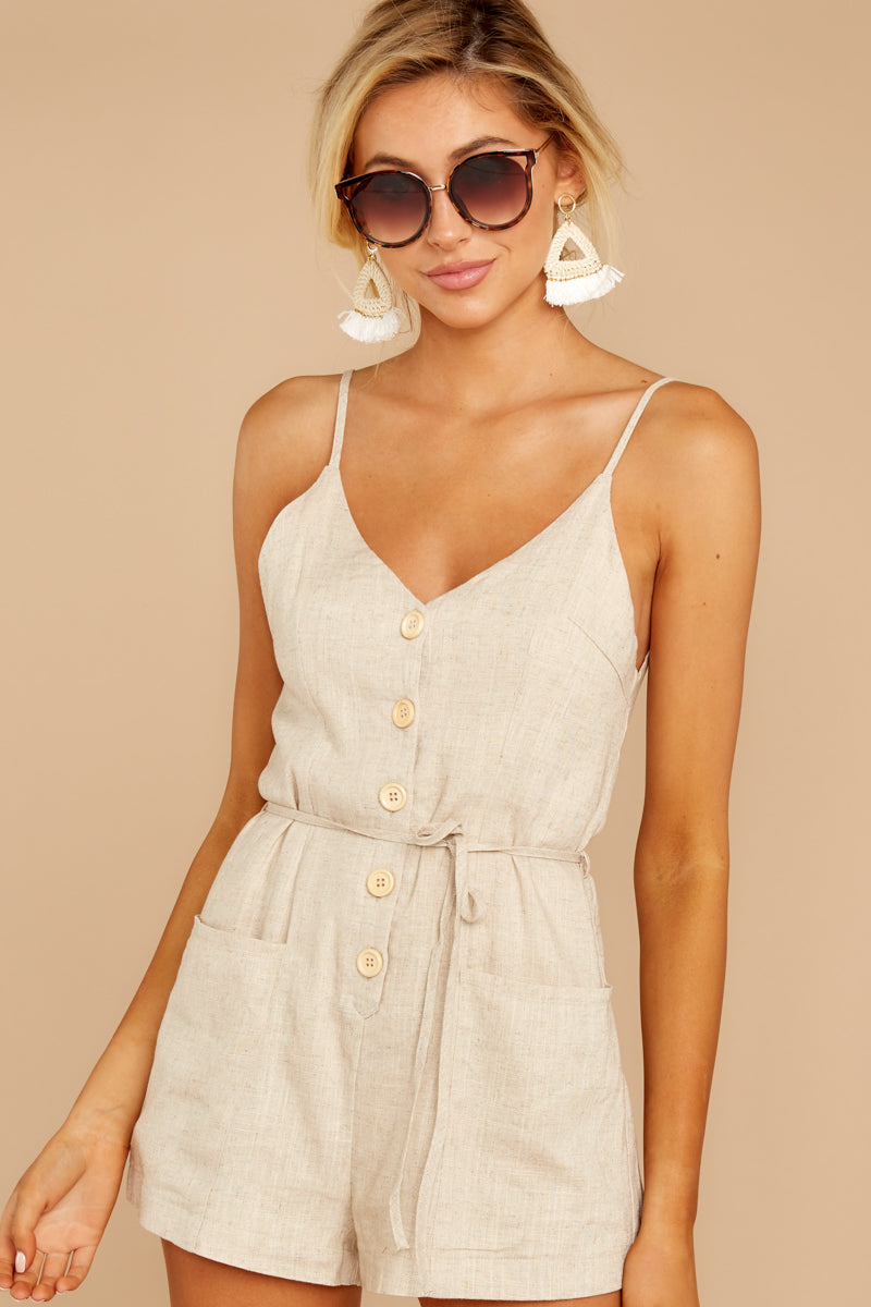 4 Legendary Allure Beige Romper at reddressboutique.com
