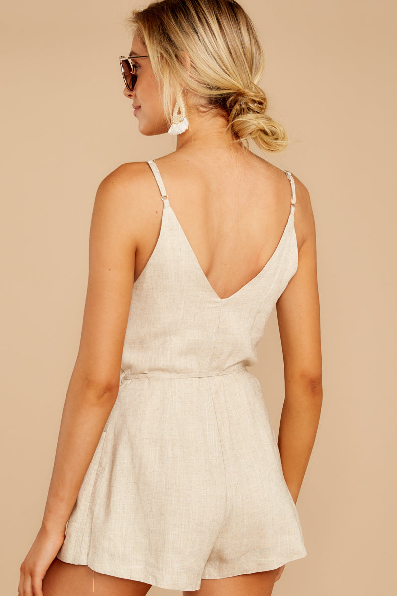 5 Legendary Allure Beige Romper at reddressboutique.com