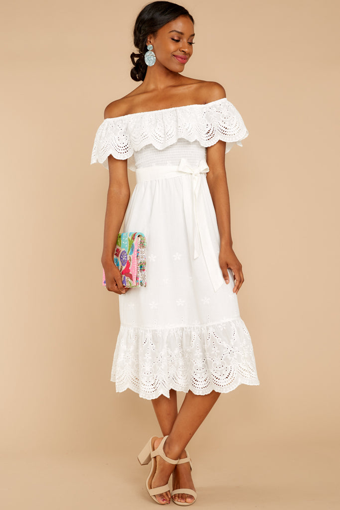 5 Strive For It White Lace High-Low Dress at reddressboutique.com