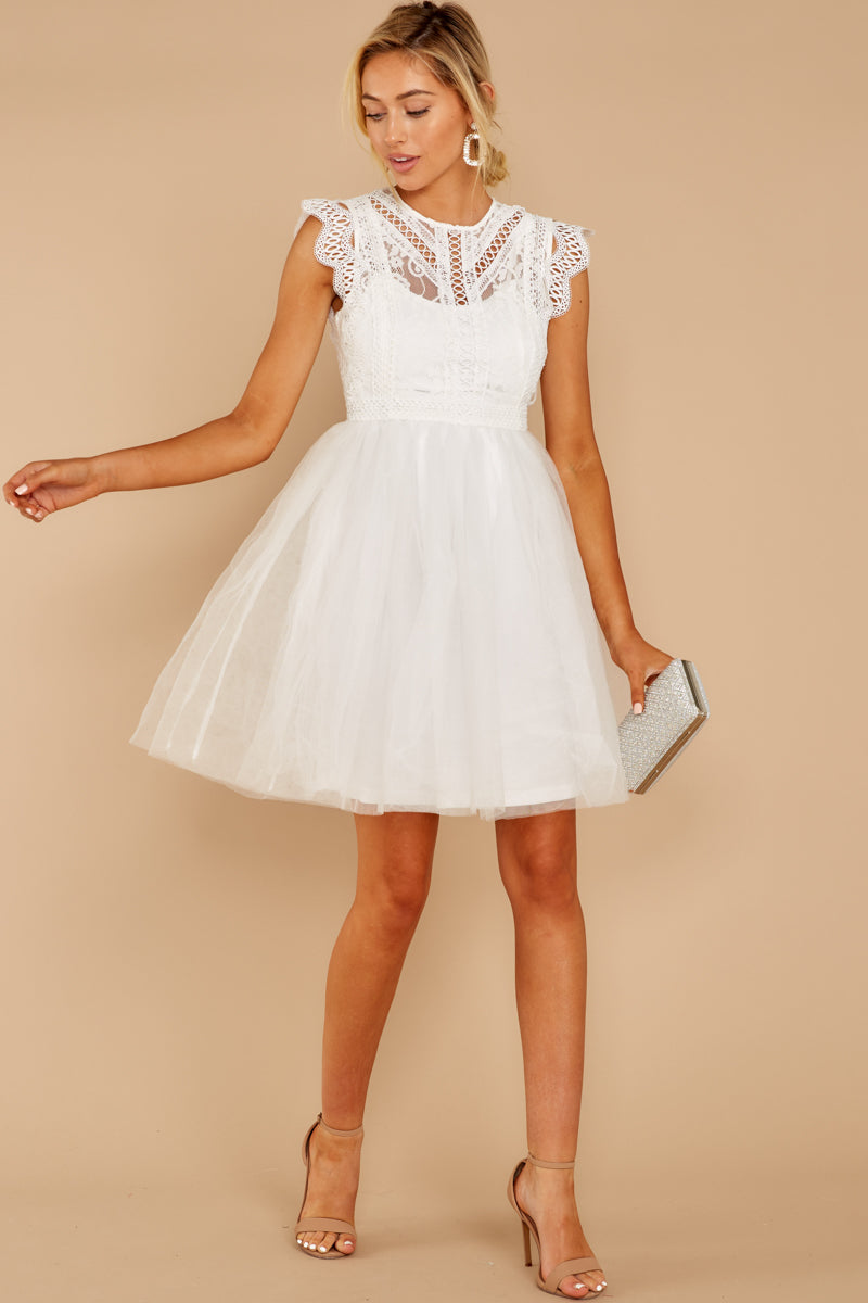 b5c04c655 Gorgeous White Lace Dress - Short Sleeveless Tulle Dress - Dress ...