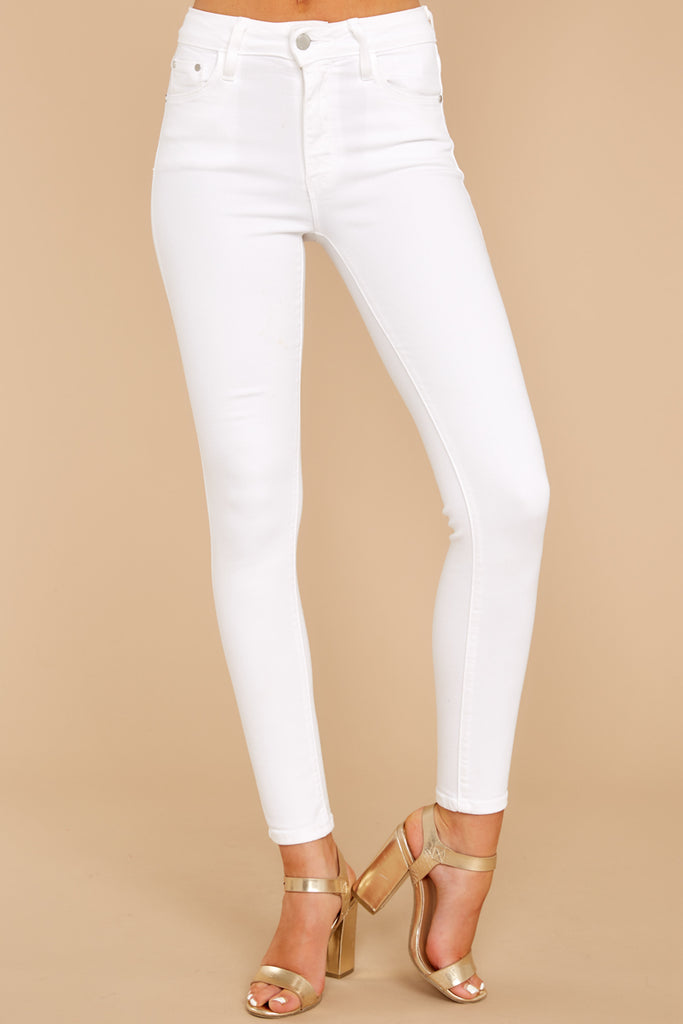 1 Self Sufficient White Skinny Jeans at reddressboutique.com