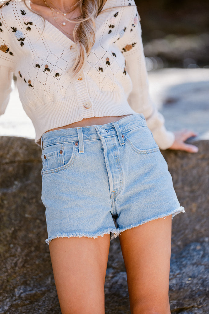 1 Already Here White Distressed Denim Shorts at reddress.com