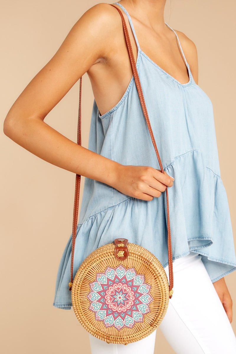 2 A Little Charmed Printed Tan Round Bag at reddressboutique.com