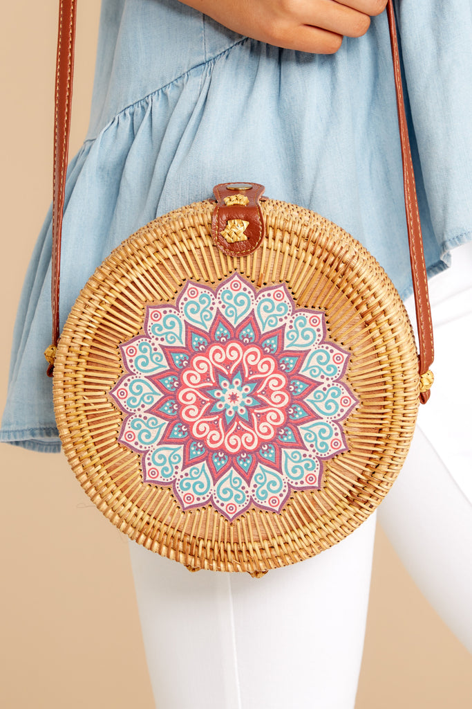 2 Chance Meeting Tan And Gingham Round Bag at reddressboutique.com